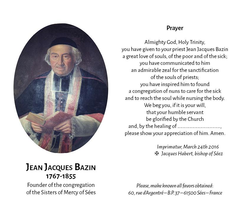 Priere père Bazin avec imprimatur double page anglais